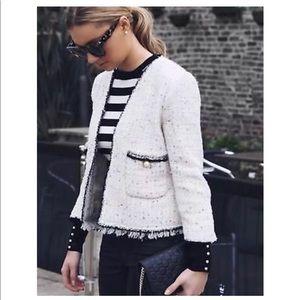 NWT Zara Sequined Tweed Jacket
